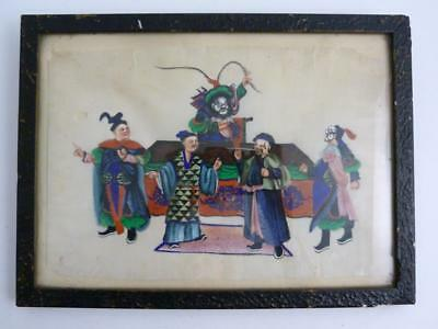 Chinese Framed Gouache Painting Of Theatrical Performance, Crime & Punishment
