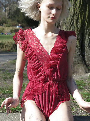 BODY Spitzenbody weinrot Spitze 70er TRUE VINTAGE 70s body lace ruby Bluse shirt
