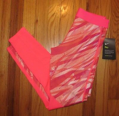 Nike Girls Hyper Cool Pink White Athletic Pants L NWT