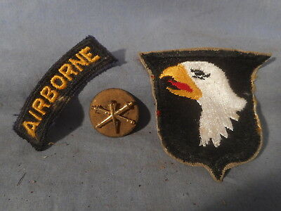 VTG WW2 U.S. Army 101st Airborne Division 2 Piece Uniform Patch and a pin