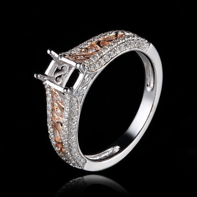 Solid 10K White Gold & Rose Gold Cushion 6X4mm Diamonds Wedding Semi Mount Ring