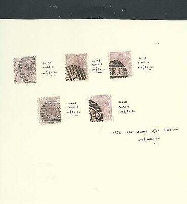 GB Great Britain Queen Victoria 1873-80 2.5d Plates 5, 9, 11, 13, 16 used