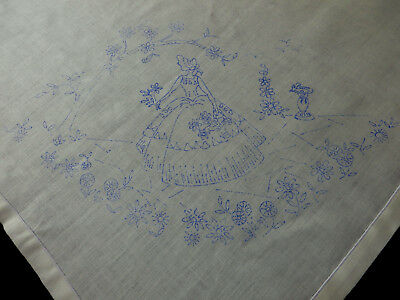 "Pretty Vintage Linen Tablecloth To Embroider Crinoline Lady in Garden 44"" Large"