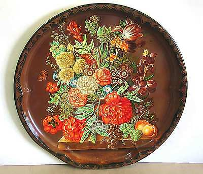 """Fall Fruit Floral Basket Style Tray DAHER DECORATED WARE 17"""" ENGLAND FREE SH"""