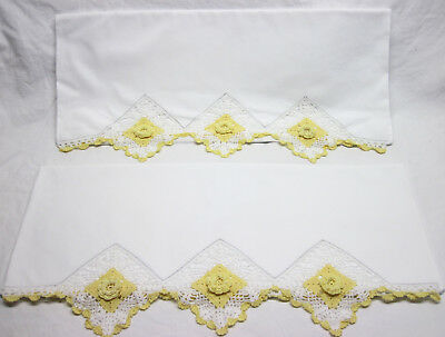 """Pair of Yellow/White Floral Fancy Crocheted Edge Pillow Cases 20 1/2"""" x 32"""""""