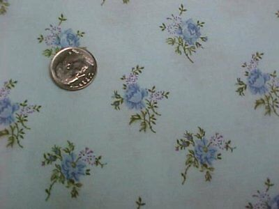 """Vintage Estate Cotton Quilt Fabric Printed TINY Blue Roses 44"""" Wd Sew Material"""