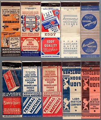 Product Advertising 10 Diff. Match Co. Self Advertising 20 Fs Matchbook Covers