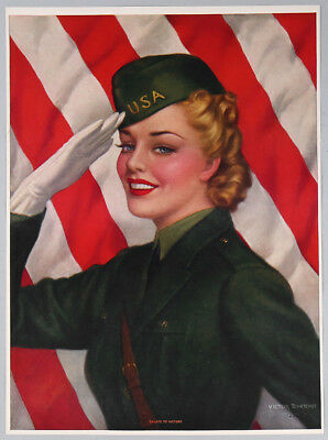 Vintage 1940s Victor Tchetchet World War II Salute to Victory Girl Pin-Up Print