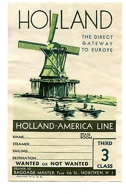 Steamship luggage label Poster Stamp 1930s Holland America Line Windmill