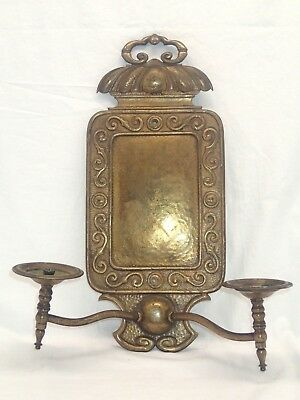 Antique Victorian Ornate Brass Gasolier Gas Light Wall Sconce.