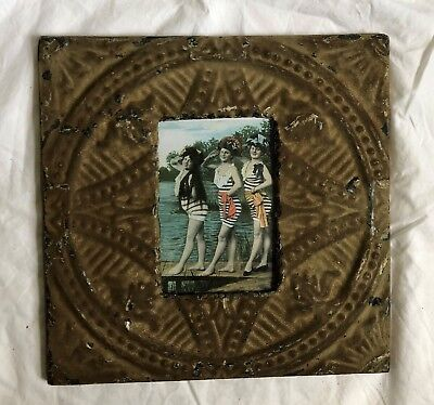 "Antique 1890's Ceiling Tin Picture Frame 4"" x 6"" Reclaimed Metal Brown 514-18"