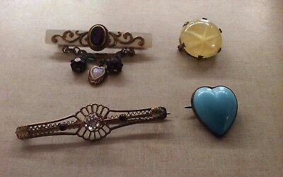 Set of 4 antique brass bar heart and round brooch pins