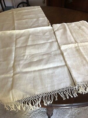 2 Antique French Linen Damask Bath Towels Hand Knotted Fringe
