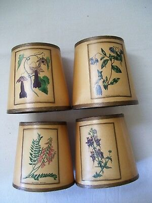 Set of 4 Small Antique Arts & Crafts Leather-like Paper Lamp Shades