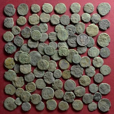 Lot of 100 A1 Follis Maiorina AE2 AE3 AE4 Low quality Roman coins - uncleaned #3