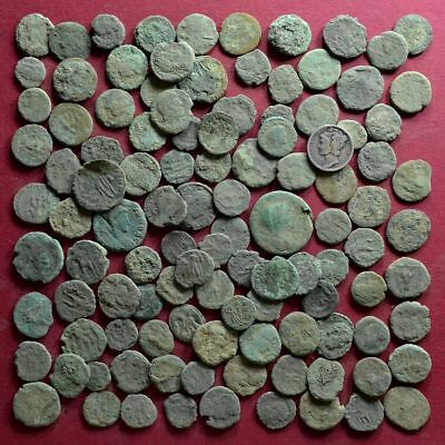 Lot of 110 A1 Follis Maiorina AE2 AE3 AE4 Low quality Roman coins - uncleaned #4