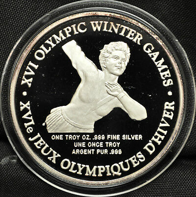 Figure Skating: 1992 Winter Olympics 1 oz. Silver round TOYOTA