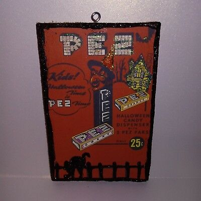 HALLOWEEN  Glitter Wood  Ornament~ PEZ Candy Witch Vintage Ad