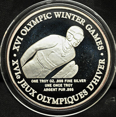Ski Jumping: 1992 Winter Olympics 1 oz. Silver round TOYOTA