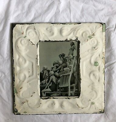 "1890's Antique Ceiling Tin Picture Frame 5"" x 7""  White Metal Reclaimed  516-18"