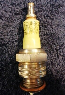 Vintage BOWERS FLIGHT ENGINEERED Spark Plug, Light Green Porcelain