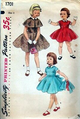 ORIGINAL Vintage Simplicity 1707 - size 2 Child's Dress, Cape, Collar, Cuffs
