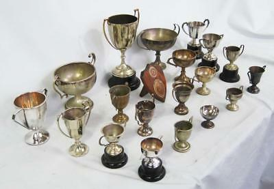 A SUPERB COLLECTION OF VINTAGE SILVER PLATED TROPHY CUPS b