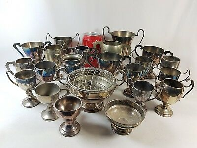 Job Lot of 22 Vintage Silver Plated Trophy Cups Trophies