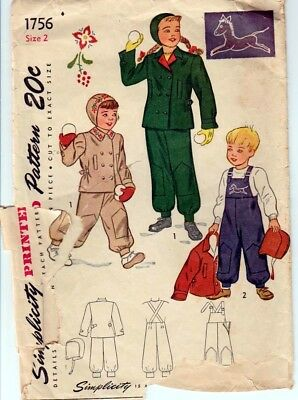 ORIGINAL Vintage Simplicity 1756 - size 2 Child's Snow Suit and Hat