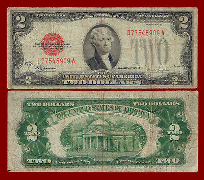 "1928-F Two Dollars ""united States Note"" (Red Seal) $2 Note 5909"