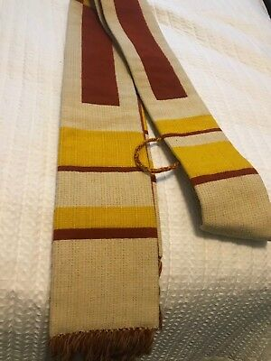 Vintage Catholic Priests Woven Ivory Red & Gold Stole By The Holy Rood Guild