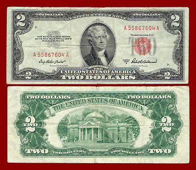 "1953-A Two Dollars ""united States Note"" (Red Seal) $2 Note 7604"