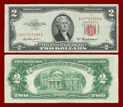 "1953-A Two Dollars ""united States Note"" (Red Seal) $2 Note 7299"