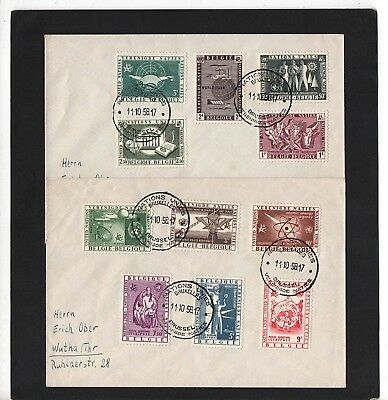 Belgium - 1958 - United Nations - Two First Day Covers - With Bruxelles Cds