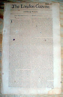 1703 newspaper COLONIAL AMERICAN WAR with Naval battle BRITISH & FRENCH FLEETS