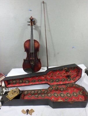 ANTIQUE SIGN & DATED 1684 JACOBUS STAINER VIOLIN & BOW w HANDMADE CASE