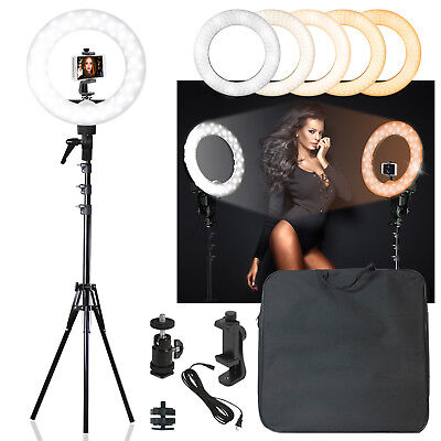 LED Ring Light with Stand 5600K Dimmable LED Lighting Kit with Color Filters