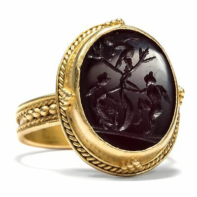 Fabulous Gems Ring Made of Gold with Agate Intaglio: the Love? around 1870 Gem