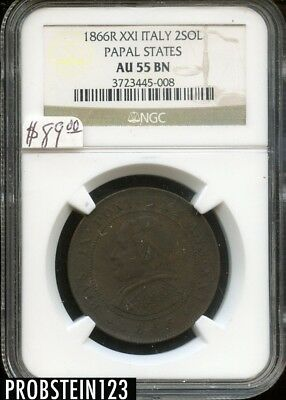 1866R XXI Italy 2SOL Papal States NGC AU 55 BN