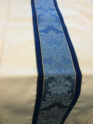 Beautiful Catholic Church Altar Ivory & Blue Brocade Banner Theological Threads