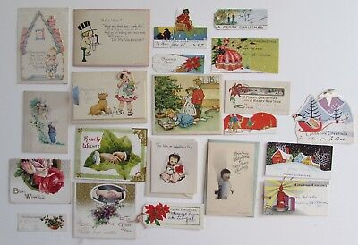 Lot 60+ Antique Vtg Greeting Cards Christmas & Other Holiday Birthday Etc