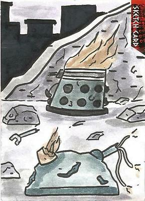 Dr Doctor Who Daleks 2150AD Sketch Card by Jerry Fleming of a destroyed Dalek