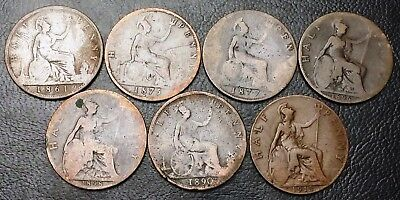 Lot of 5x Great Britain UK Half Penny Coins - Dates: 1861 to 1915