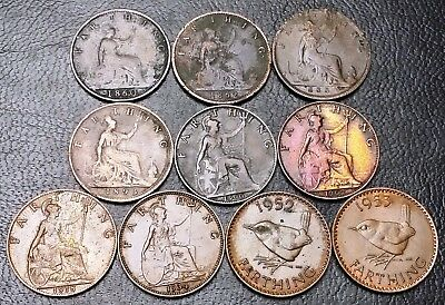 Lot of 10x Great Britain UK Farthing Coins - Dates: 1860 to 1953