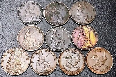 Lot of 10x Great Britain Farthing Coins - Date Range: 1860 - 1953