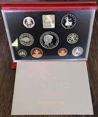 1999 United Kingdom Deluxe Proof Coin Set - In Original Case with COA
