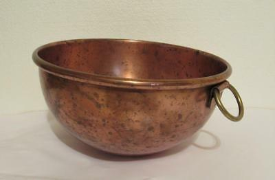 """Vtg. Copper 8 1/2"""" Mixing Bowl with Brass Ring for Hanging Whisking Beating"""