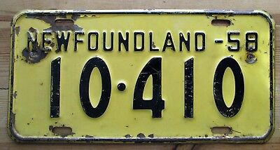 Newfoundland 1958 License Plate # 10-410