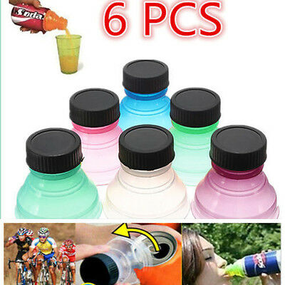 6Pcs Reusable Plastic Drinking Bottle Tops Caps Can Convert Soda Savers Toppers