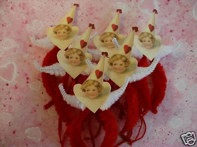 Primitive Vintage Style Valentine Girl Ornaments Chenille Feather Tree